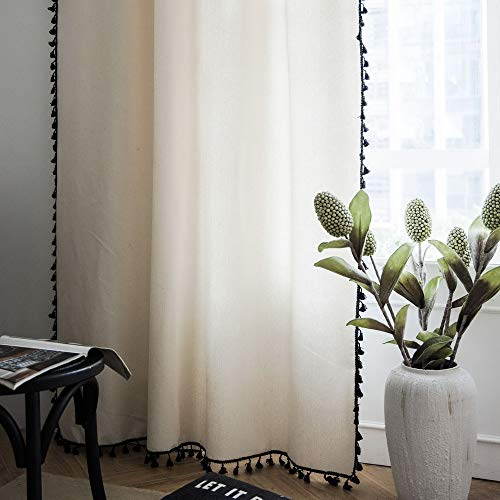 Light Beige Curtain Tassel for Living Room Blinds Bedroom Bay Window Blending Finished Curtain Buckle/Tube Window Treatment Draperies Boho Curtains Kids Yoga Studio Canopy Tent 1 Panel W59 L95 Inch