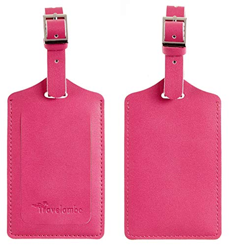 Travelambo Leather Luggage Bag Tags (Red 2250 Rose Red)