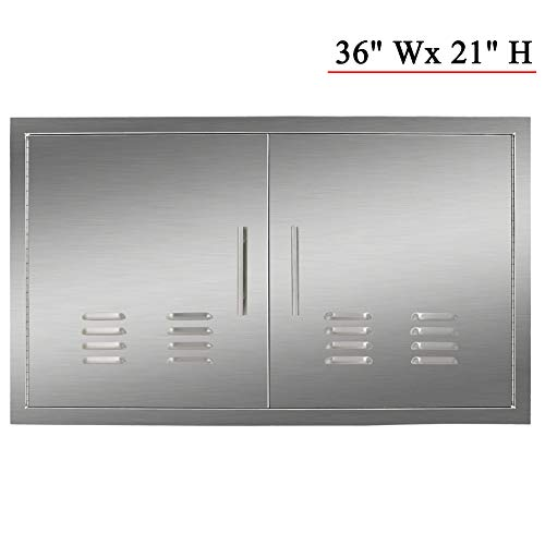 YXHARD 304 Stainless Steel Outdoor Kitchen Door,36Wx 21H Inches Double BBQ Access Door with Vents for Outdoor Kitchen, Grilling Station or Commercial BBQ Island