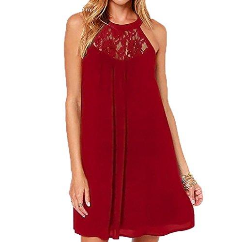 ESAILQ Damen V Ausschnitt A-Linie Kleid Träger Rückenfreies Kleider Sommerkleider Strandkleider Knielang(M,Wein)