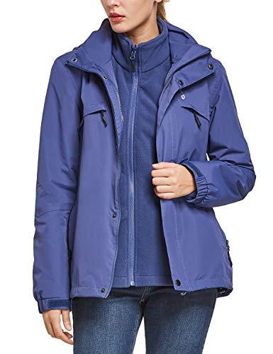 BALEAF Womens 3-in-1 Ski Jacket Waterproof Detachable Hooded Snowboarding Coats with Fleece Liner Skiing Jacket Blue Size XL