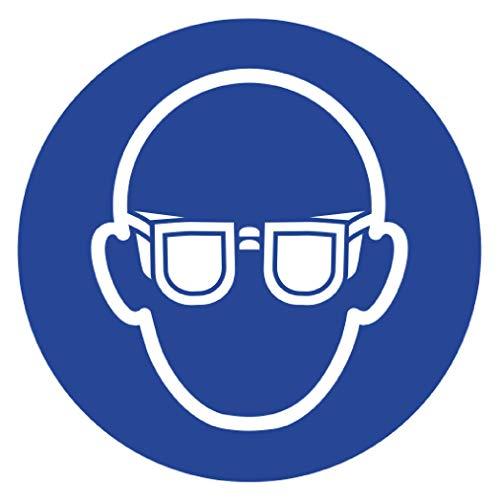 Anro Gebotsschild Augenschutz Tragen M004 | Sicherheitsschild aus PVC 10 x 10 cm | Hinweis-Schild für Betriebe, Produktionen & Flughäfen |