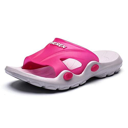 LLGG Hombre Baño Sandalias de Punta,Hombres y Mujeres, Arrastre, Zapatillas de baño de plástico.-Rosa roja_39,Zapatillas de baño para el hogar