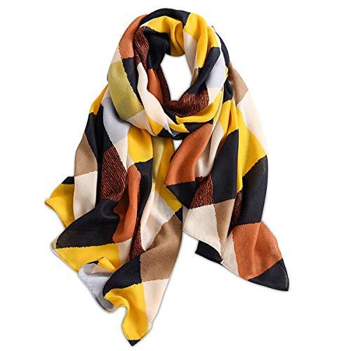 LumiSyne Sciarpa Primavera Donna Ragazze Sciarpa Di Cotone Morbido e Sottile Sciarpa Colori Misti Modello Geometrico Lettera Scialle Stole Caldo Moda