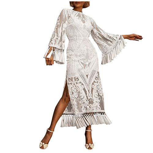 Janly Vestido de novia para mujer, retro, con cuello en O, manga larga, cintura alta, bordada, con franja, vestido de San Valentín