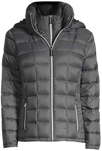Michael Kors Mail Surprise price order Women's Gunmetal Double Layer Hooded Packable Down