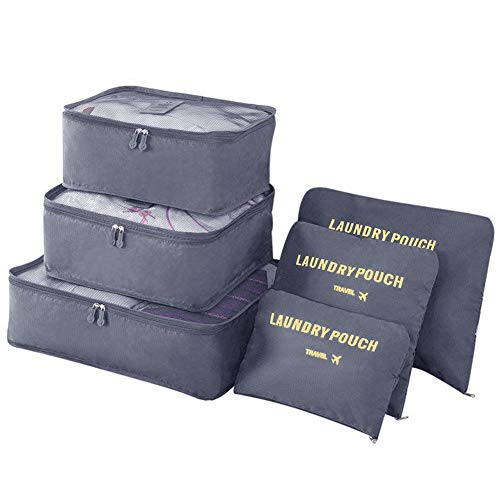 Vicloon Gepäck Organizer, 6-in-1-Set Koffer Organizer Umfassen 3 * Packwürfel und 3 * Aufbewahrungsbeutel, Reise Kleidertaschen für trockene Kleidung, Unterwäsche, Kosmetik und Andere Zubehör(Grau)