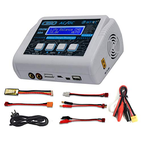 HTRC C150 1-6S LiPo Charger Battery Balance Charger Discharger 150W 10A AC/DC for NiCd Li-ion Life NiMH LiHV PB Smart Battery