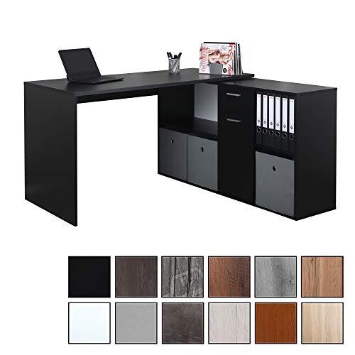 RICOO WM081-S, Schreibtisch, Holz Schwarz, Winkelkombination, Arbeitstisch, Bürotisch, Computertisch, Eckschreibtisch, Akten Schrank Lowboard