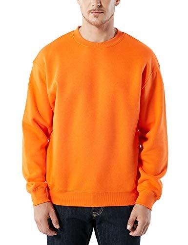 TSLA Men's Crewneck Sweatshirt Active Winter Cotton Mix Pullover Performance Fleece, Fleece Crewneck Sweatshirt(ykl21) - Orange, Large