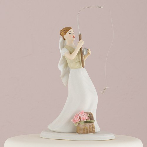 Wedding Cake Topper Perfect Catch Bride with Fishing Rod Hand Painted...