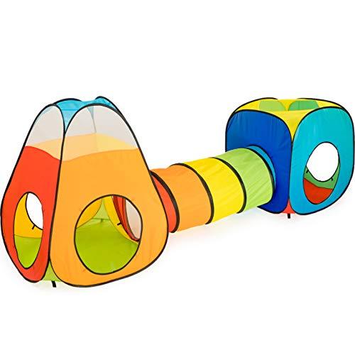 NUBUNI 3 in 1 : Spielzelt Kinderzelt : Babyzelt mit krabbeltunnel : Teiliges Bällebad : Spielzelt Babyzelt : Spielhaus mit Zelt Tasche und Tunnel : Mehrfarbig