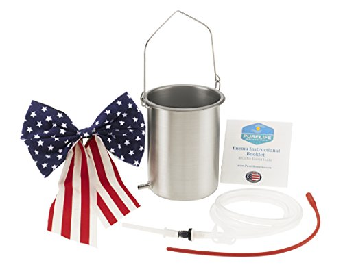 Purelife USA Safety Made Grade Stainless Steel Enema Kit - The Most Trusted Enema Bucket- Contaminant Tested USA Non Toxic Stainless Steel - Doctor's Choice