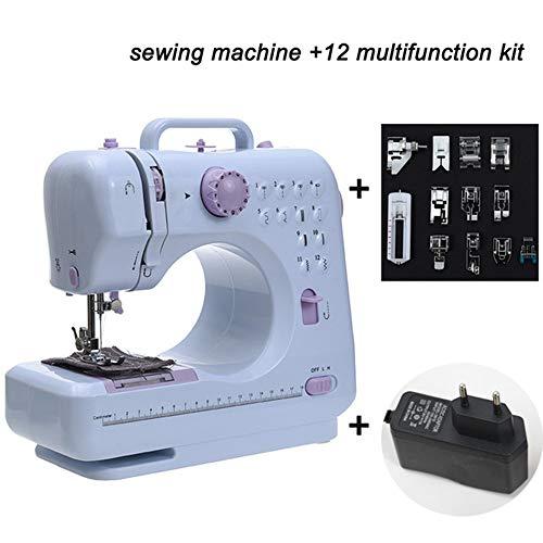 WYCcaseA Sewing Machine Nähmaschine mit Fußpedal 12 Stiche 2-Gang-Nähmaschine mit Austauschbarem Presser LED für Anfänger Heimnähen Basteln DIY-Nähen