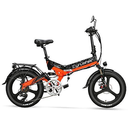 Extrbici XF590 Bicicleta eléctrica Plegable 500W 48V 10A Li-Battery Neumático de 20 Pulgadas con batería Interna Desmontable con luz Delantera y Trasera con Marco de Asiento(Naranja)