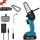 MaikcQ Rechargeable Mini Portable Electric Chainsaw 4 Inch Cordless Electric Portable Battery Chain Saw with 2Pcs Batteries, 24V Electric Hand Chainsaw for Cutting Wood