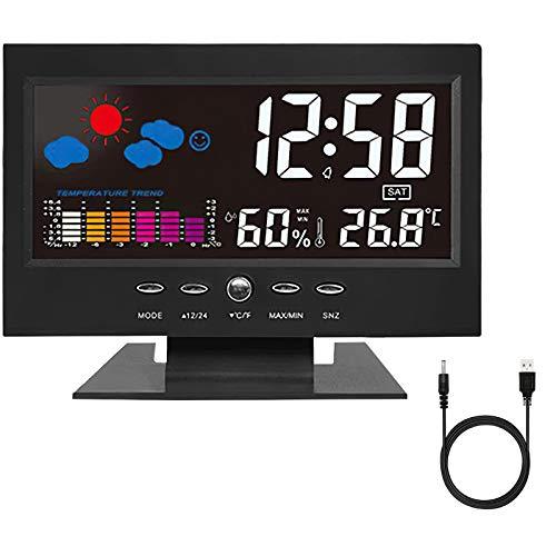 RYBTB sveglia da comodino,Stazione meteorologica Sveglia Digitale da Comodino Moda Sveglia, Sveglia Digitale LED con Stazione Tempo/LCD e Display/Temperatura e Data/Funzione Snooze/ 12&24h