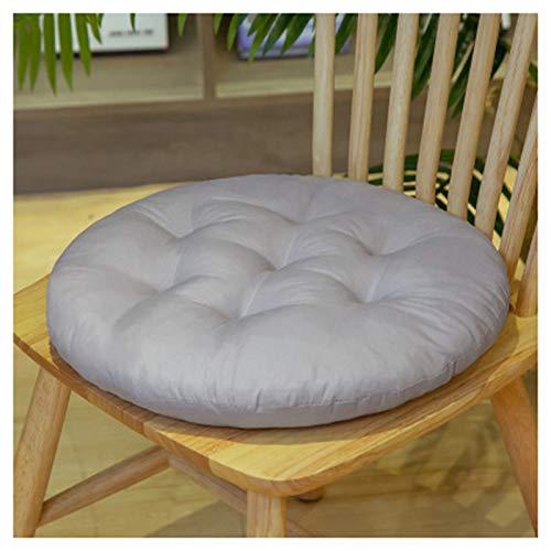 A-Hellgrau - Cojín redondo de algodón para silla de jardín, cocina o comedor (azul, 40 x 40 cm)
