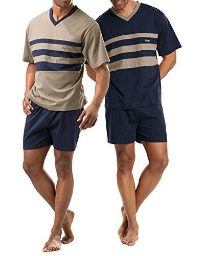 Le Jogger Herren Pyjama kurz, 2er Pack, V-Ausschnitt, Schlafanzug, Nachtwäsche (44/46, farb-set)