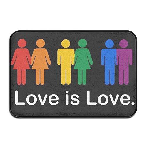 JNSHO-G Welcome Entrance Door Mats Love is Love Gay Lesbian Doormat for Indoor Outdoor, Absorbent