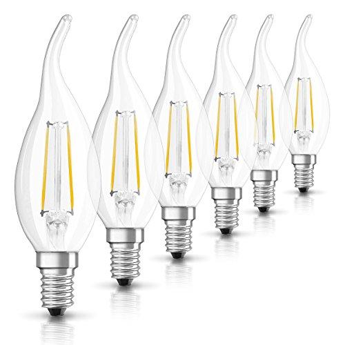 Osram LED Star Classic BA Lampe, in Kerzenform mit E14-Sockel, nicht dimmbar, Ersetzt 25 Watt, Filamentstil Klar, Warmweiß - 2700 Kelvin, 6er-Pack