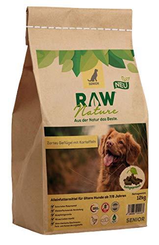 RAW Nature Trockenfutter Senior | Natürlich Kaltgepresst | Getreidefreies Hundefutter | Muskelfleisch | Vollwertkost | ohne künstliche Zusätze | hoher Fleischanteil | für Hunde ab 7/8 Jahren (12 kg)