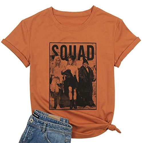 BANGELY Sanderson Sisters Squad Cute T Shirt Halloween Graphic Tees for Women Hocus Pocus Funny Shirts Fall Casual Tops (Small, Brown)
