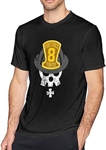 xiongda Anime Fire Force Logo Men's Short Sleeved Top T-Shirts_BlackS011