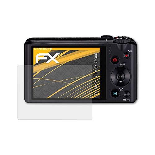 atFoliX Panzerfolie kompatibel mit Casio Exilim EX-ZR300 Schutzfolie, entspiegelnde und stoßdämpfende FX Folie (3X)