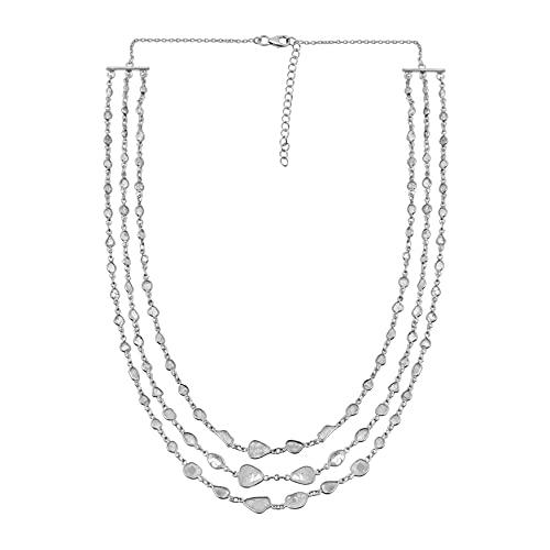 24.00 CTW Collar de cadena múltiple Polki de diamantes naturales Plata de ley 925 Chapado en platino Boho Joyería étnica hecha a mano del diamante de la rebanada