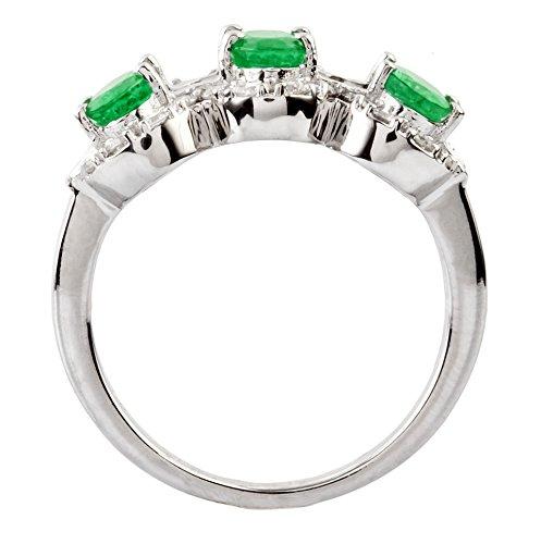 5JOYAS Anillo Sortija En Oro Blanco 18KT con 3 Esmeraldas Naturales y 14 Diamantes Cerftificados Ambos. (Talla 7-27). Pide Tu Talla.