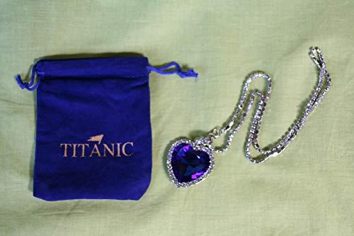 Lindkind Titanic - Halskette, Herz des Ozeans, mit blauem Kristall in Herzform, versilbert