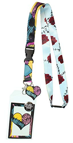 Nightmare Before Christmas Sally ID Lanyard Badge Holder with 1.5' Heart Rubber Charm Pendant