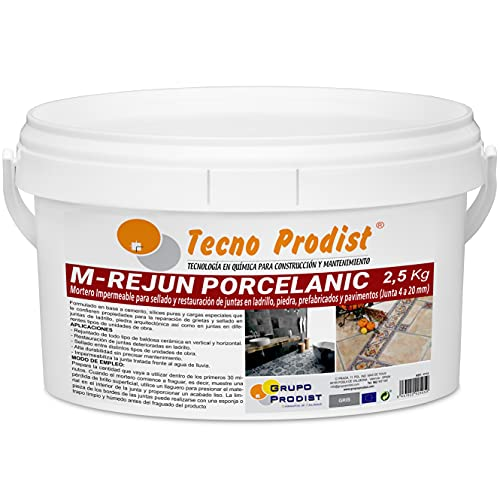 M-REJUN PORCELANIC de Tecno Prodist - (2,5 Kg, Gris) - Mortero para Lechada impermeable azulejos y suelos. Pavimentos cerámicos, ladrillos, piedra, etc. (Junta ancha de 4 a 20mm)
