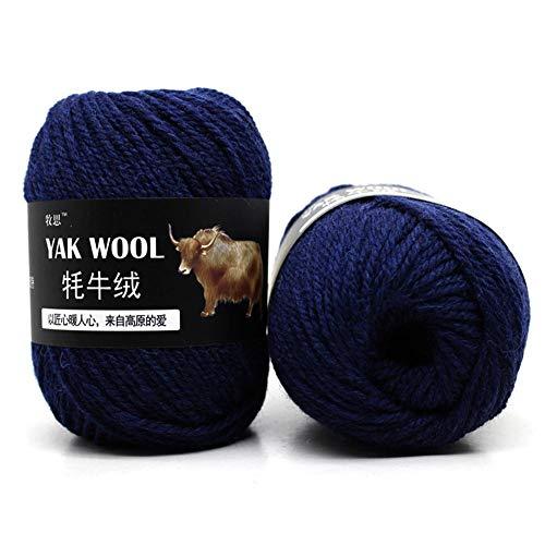 500g Strickwolle Wollgarn Kaschmir - Häkelgarn gemischt Yak Wolle & Wolle & Merzerisierter Samt für kleine und Kinder Garnprojekte Basteln Stricken Häkeln Mehrfarbig Blau