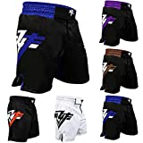RYFMMA Fight Shorts UFC Grappling Muay Thai BJJ Training Jiu Jitsu No Gi Wear (Black Blue, X-Large)