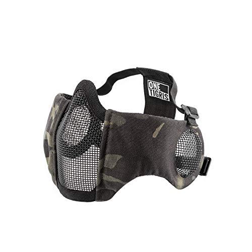 OneTigris Airsoft Faltbare halbe Maske Mesh Gesichtsmaske mit Gehörschutz (Schwarz Multicam) |MEHRWEG Verpackung