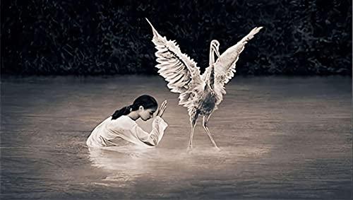 IFUNEW Lona Pared Arte Pinturas de Pared de grulla Blanca Realista Impresas en Lienzo Impresiones artísticas de Pared Carteles de contemplación imágenes de Pared de niña 60x90cm