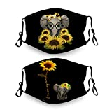 You Are My Sunshine Sunflower Baby Elephant Face Masks Washable Face Bandanas Balaclava Reusable Fabric with 2 Filters Gift for Adults