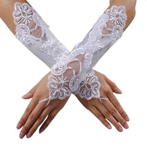 Renquen 1 par de guantes de encaje para novia, boda, fiesta, vestido de lujo, guantes cortos de encaje sin dedos para mujer