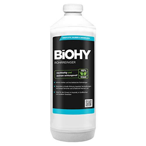 BiOHY Rohrreiniger (1l Flasche) | EXTRA STARK | Flüssiger, hochkonzentrierter Abflussreiniger | Geruchsneutral | Für alle Verstopfungen