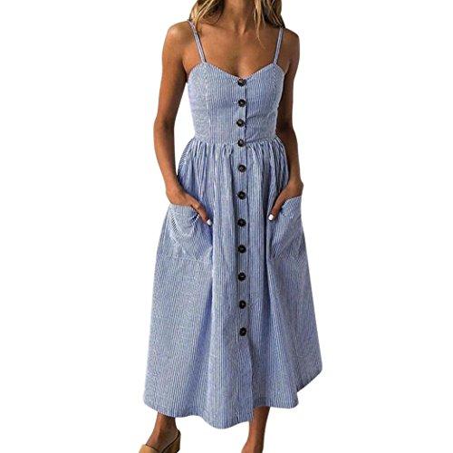 MRULIC Mode Frauen mit Knöpfen aus Schulter ärmelloses Kleid Prinzessin Kleid Vintage Clubwear(Blau,EU-42/CN-XL)