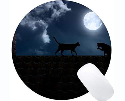 Yanteng Cojín de ratón Redondo con el Borde Cosido, Cielo de la Luna del tejado Cat Home Office Accesorios de computadora Alfombrillas