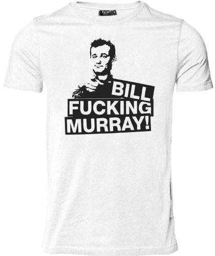 Stylotex Herren Slimfit T-Shirt Bill Fucking Murray !, Größe:L;Farbe:Weiss