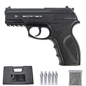 Borner C11 | Pack Pistola de balines (perdigones Bolas de Acero BB's). Arma de Aire comprimido CO2 Calibre 4,5mm [3 Julios]