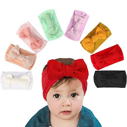 vamei 8 Piezas Bebé Niña Diademas Cintas de Pelo Diadema Elástica Turbante Bowknot Bebé Venda De Pelo De Arco 0-3 Meses (Gran Arco)