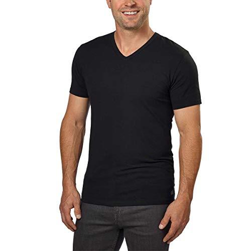 Calvin Klein Cotton Stretch V-Neck, Classic Fit T-Shirt, Men's (3-pack) (White or Black) (Black, Medium)
