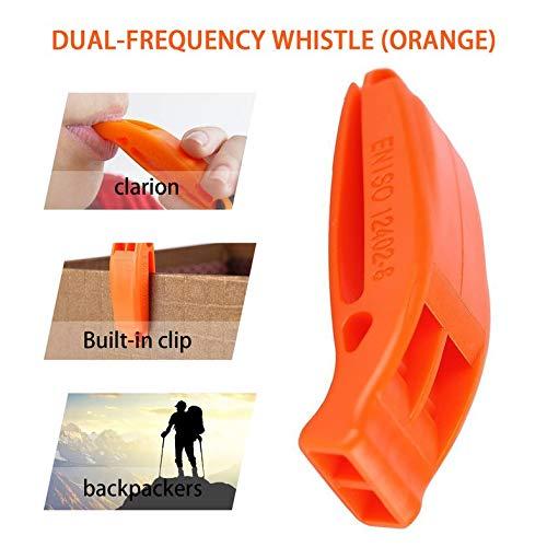 CamKpell Durable Léger Non corrosifPortable Survie en Plein Air Sauvetage d'urgence en Plastique Sifflet Fort avec Clip Intégré - Orange