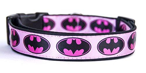 MasTazas Batman Logo DC Comics Batgirl Pink Hundehalsband Handgemachte Größe M Ohne Hundeleine Dog Collar Handmade