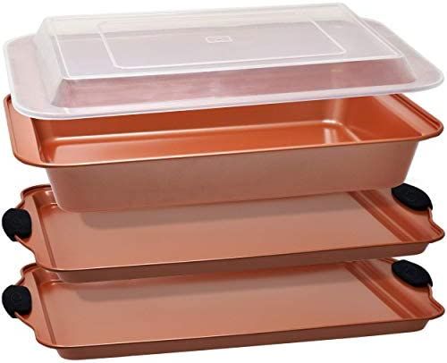 Copper Baking Sheet Pans Nonstick Bakeware Set 4 Piece includes 2 Large Cookie Sheets with Black product image